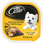 CESAR Ham & Egg Flavor with Potato & Cheese Loaf & Topper in Sauce Canine Cuisine