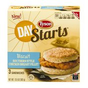 Tyson Day Starts Biscuit Southern Style Chicken Breast Fillet Sandwiches - 3 CT