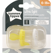 Tommee Tippee Pacifiers, Silicone, Ultra Light, 6-18 Months