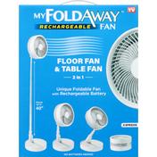 My Fold Away Rechargeable Fan, Floor Fan & Table Fan, 2 in 1