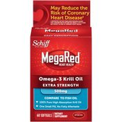 MegaRed Extra Strength Omega-3 Krill Oil 500mg Softgels Dietary Supplement