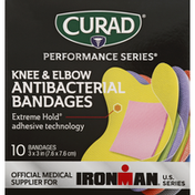 CURAD Bandages, Antibacterial, Knee & Elbow