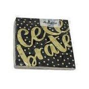 Design Design Black Gold Foil Celebrate Paper Beverage Napkins