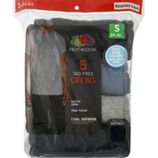 Fruit of the Loom T-Shirts, Tag-Free Crews, Mens, Assorted Colors, 5 Pack, Small (34-36 Inches)