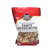 First Street A Blend Of Cashews, Roasted Almonds, Almonds, Hazelnuts, Pecans & Pistachios Roasted & Salted Fancy Mixed Nuts