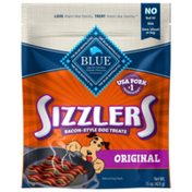 Blue Buffalo Sizzlers Natural Bacon-Style Soft-Moist Dog Treats, Original Pork
