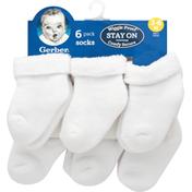 Gerber Socks, 3-6 Months, 6 Pack