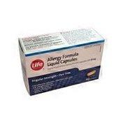 Life Brand Diphenhydramine Hydrochloride Allergy Formula Liquid Capsules