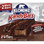 Klondike Kandy Bars, Triple Chocolate Krunch, 6 Pack
