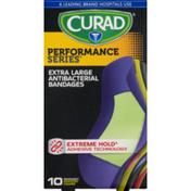 CURAD Performance Series Extra Large Antibacterial Bandages