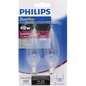 Philips Light Bulbs, Candelabra Blunt Tip Candle, Sparkling Clear, 40 Watts