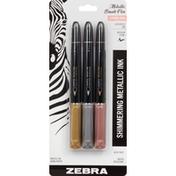 Zebra Brush Pen, Shimmering Metallic Ink, Medium Point