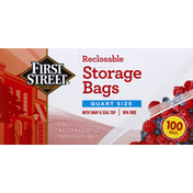 First Street Storage Bags, Reclosable, Quart Size