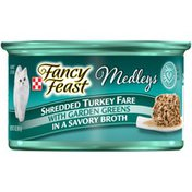 Fancy Feast Elegant Medleys Shredded Turkey Fare with Garden Greens in A Savory Broth Wet Cat Food