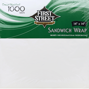 First Street Sandwich Wrap, Grease Resistant, 14 Inches x 14 Inches