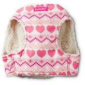Smoochie Pooch Pink Hearts Fair Isle Dog Harness Small