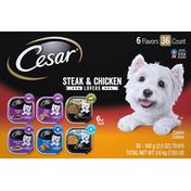 CESAR Canine Cuisine, Steak & Chicken Lovers, 6 Flavors