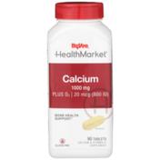 Hy-Vee Healthmarket, Calcium 1000 Mg Plus D3 | 20 Mcg (800 Iu) Bone Health Support Calcium & Vitamin D3 Supplement Tablets