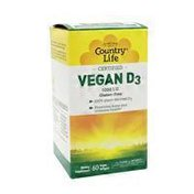 Country Life Vegan D3 125 Mcg (5,000 I.u) Promotes Bone And Immune Health, Supports Cognitive Health Dietary Supplement Vegan Softgels