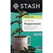 Stash Tea Herbal Tea, Peppermint, Caffeine Free, Bags