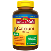 Nature Made Calcium (Carbonate) 750 mg with Vit D & K Tablets