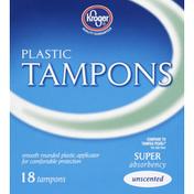 Kroger Tampons, Plastic, Super Absorbency, Unscented
