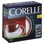 Corelle Dinnerware, Glass, Durable Vitrelle, Crimson Trellis, 16 Pieces