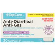 TopCare Anti-Diarrheal Loperamide Hydrochloride 2 Mg And Anti-Gas Simethicone 125 Mg Multi-Symptom Relief Caplets