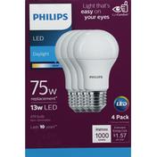 Philips Light Bulbs, LED, Daylight, 13 Watts, 4 Pack