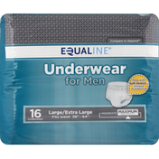 Equaline Underwear, for Men, Maximum Absorbency, Large/Extra Large