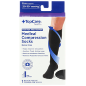 TopCare Firm Support Medical Black Closed-Toe Below Knee Compression Socks For Men And Women, X-Large