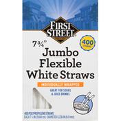 First Street Straws, White, Jumbo, Flexible, 7.75 Inch