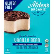 Alden's Organic Ice Cream Sandwich, Round Sammies, Gluten Free, Vanilla Bean