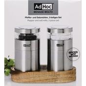 AdHoc Pepper and Salt Mills, 3 Piece Set