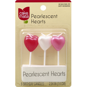 Cake Mate Candles, Birthday, Pearlescent Hearts