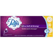 Puffs Ultra Soft & Strong Puffs Ultra Soft & Strong Facial Tissues, 3 Cubes, 56 Tissues per Cube  Personal Tissue