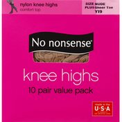 No nonsense Knee Highs, Comfort Top, Sheer Toe, Size Plus, Nude Y19, Value Pack