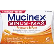 Mucinex Pressure & Pain, Maximum Strength, Caplets