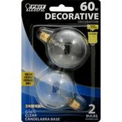 Feit Electric Light Bulb, Candelabra Base, Clear, 60 Watts