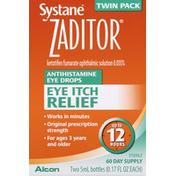 ZADITOR Antihistamine Eye Drops, Eye Itch Relief, Twin Pack