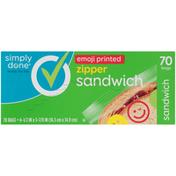 Simply Done Sandwich Zipper Bags, Emoji Printed