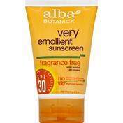 Alba Botanica Sunscreen, Broad Spectrum SPF 30, Fragrance Free