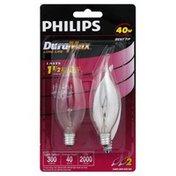 Philips Light Bulb, Clear, Bent Tip, 40 Watts
