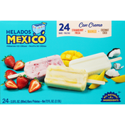 Helados Mexico Ice Cream Bars, Premium, Strawberry/Mango/Coconut
