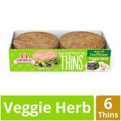Oroweat Vegetable Herb Cauliflower Sandwich Thins Rolls