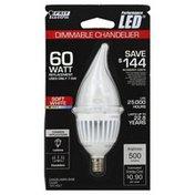 Feit Electric Light Bulb, 60 Watt, Dimmable Chandelier, Soft White, Preformance LED, Blister Pack