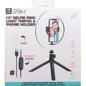 Premier Selfie Ring Light Tripod & Phone Holder, 10 Inch
