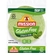 Mission Tortilla Wraps, Gluten Free, Spinach Herb
