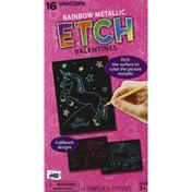 Mello Smello Rainbow Metallic, Etch Valentines, 16 Unicorn