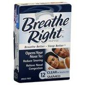 Breathe Right Nasal Strips, SM/MED, Clear for Sensitive Skin
